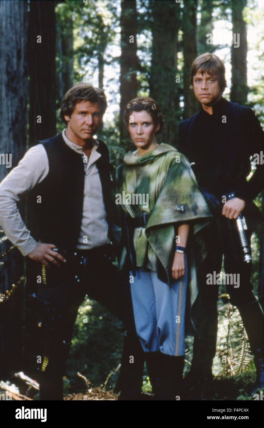 Harrison Ford, Carrie Fisher, Mark Hamill / Star Wars - Return Of The Jedi 1983 directed by Richard Marquand - Stock Image