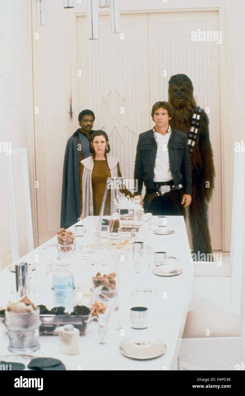 Billy Dee Williams, Carrie Fisher, Harrison Ford, Peter Mayhew / Star Wars - The Empire Strikes Back 1980 directed - Stock Image
