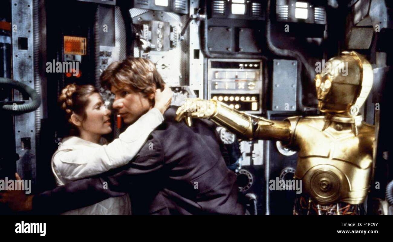 Carrie Fisher, Harrison Ford, Anthony Daniels / Star Wars - The Empire Strikes Back 1980 directed by Irvin Kershner - Stock Image
