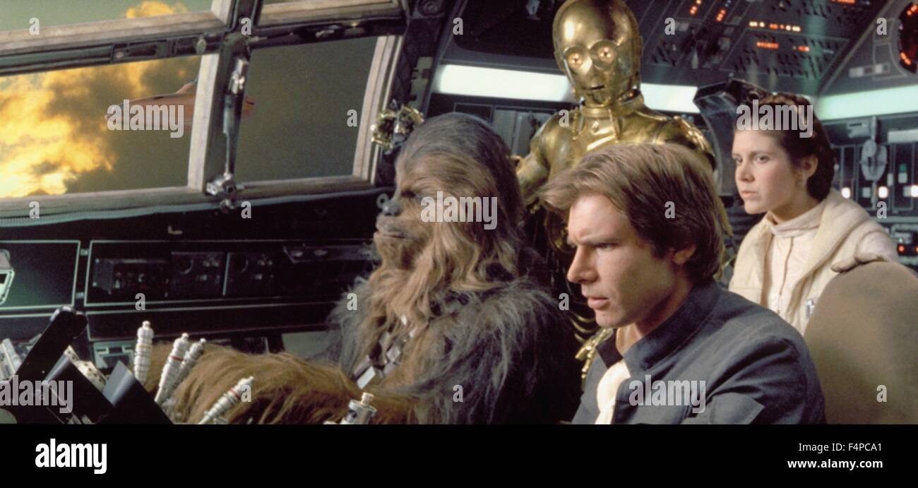 Harrison Ford, Peter Mayhew, Anthony Daniels, Carrie Fisher / Star Wars - The Empire Strikes Back 1980 directed - Stock Image
