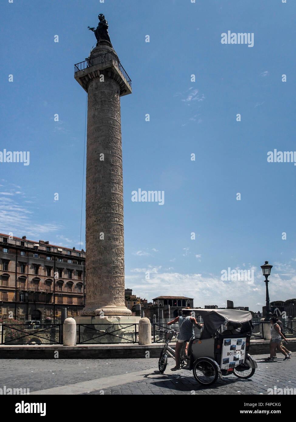 Trajan's Column (Colonna Traiana) in Rome Stock Photo