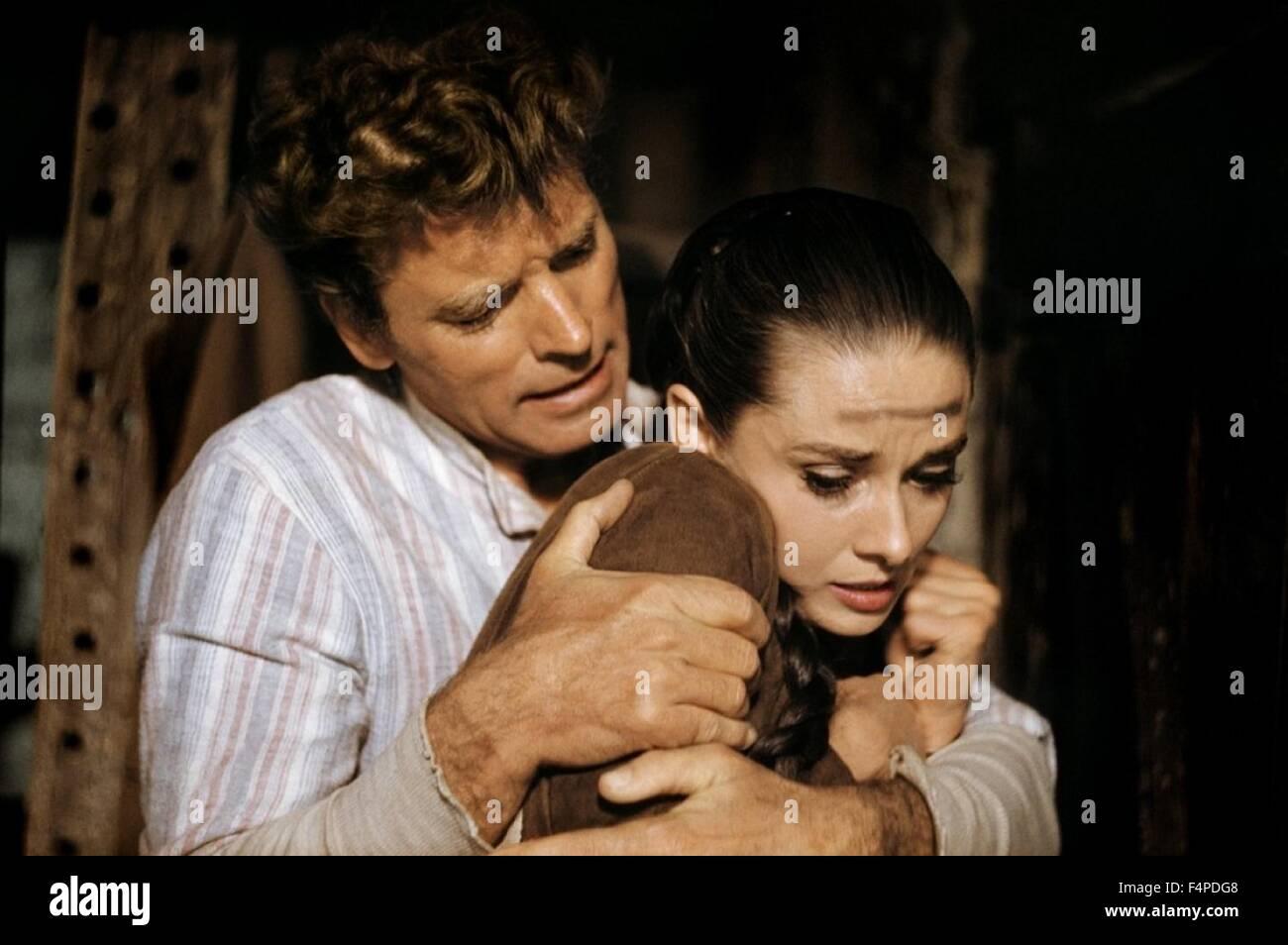 Burt Lancaster, Audrey Hepburn / Unforgiven 1960 directed by John Huston - Stock Image