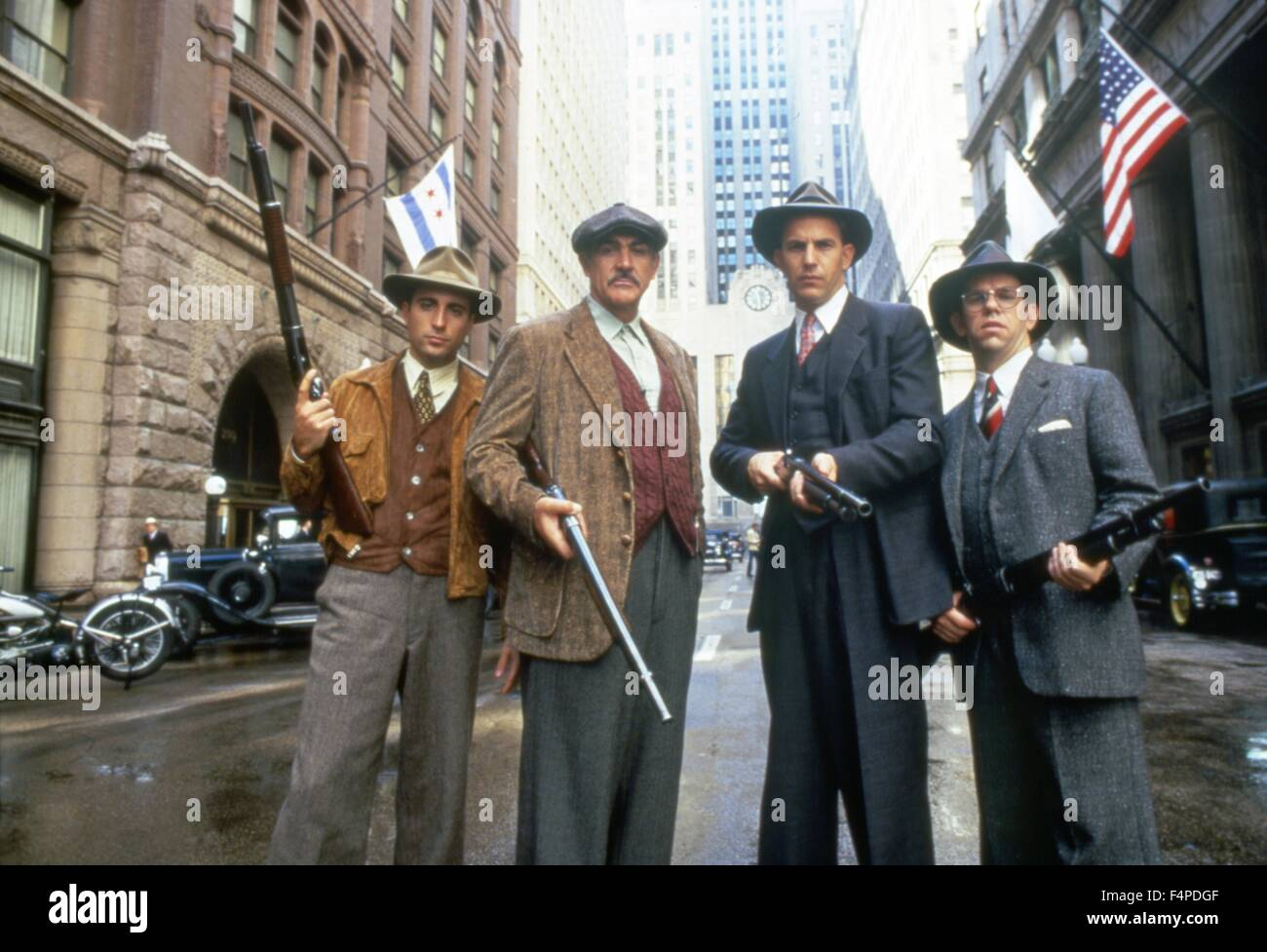 Andy Garcia, Sean Connery, Kevin Costner, Charles Martin Smith / The Untouchables 1987 directed by Brian De Palma - Stock Image