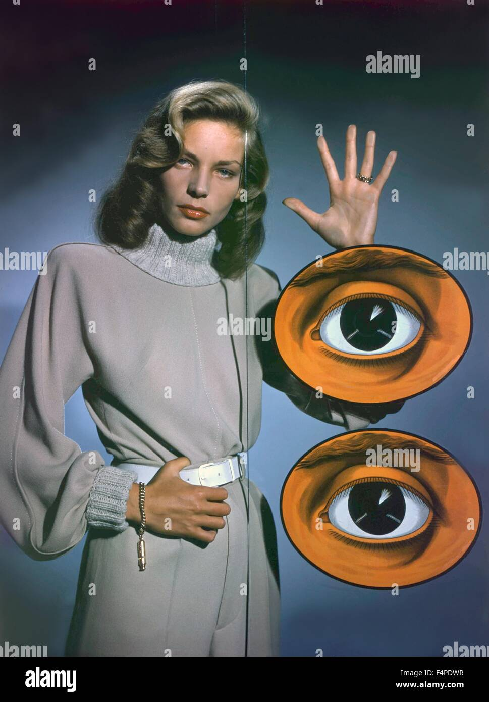 Portrait of Lauren Bacall with two illustrated eyes - Stock Image