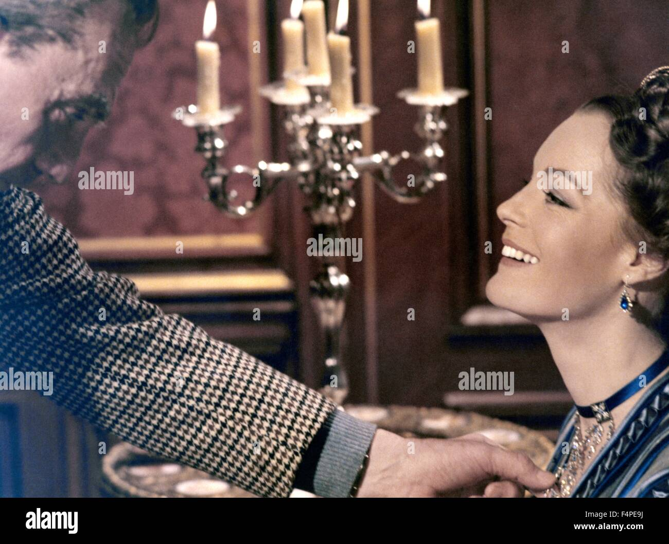 On the set, Luchino Visconti and Romy Schneider / Ludwig : The Mad King of Bavaria / 1972 directed by Luchino Visconti Stock Photo