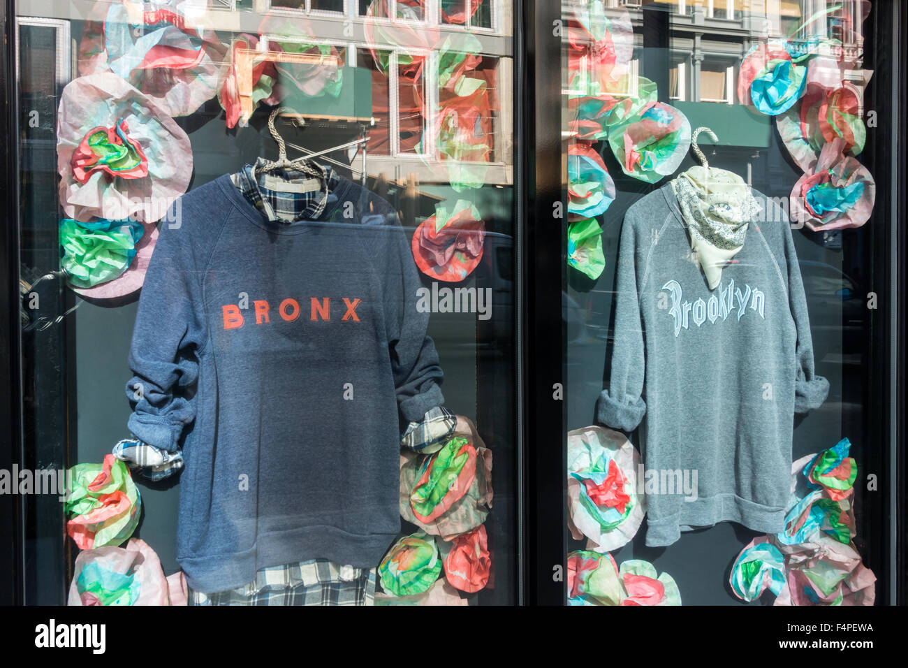 New York sweat shirts labeled Bronx and Brooklyn - Stock Image