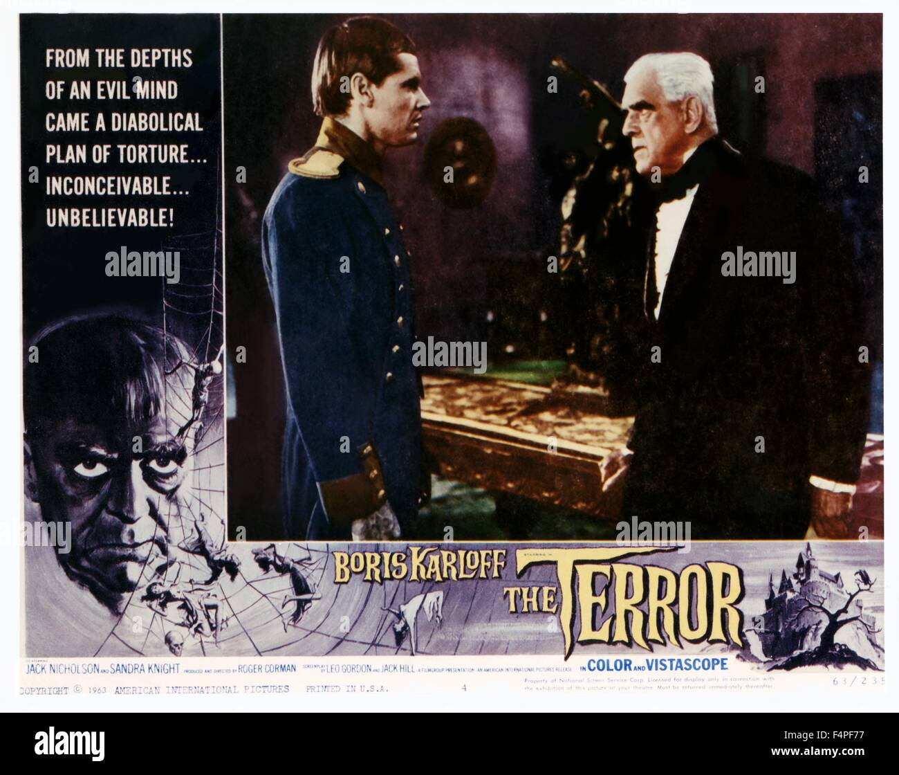 Jack Nicholson and Boris Karloff / The Terror / 1963 directed by Roger Corman - Stock Image