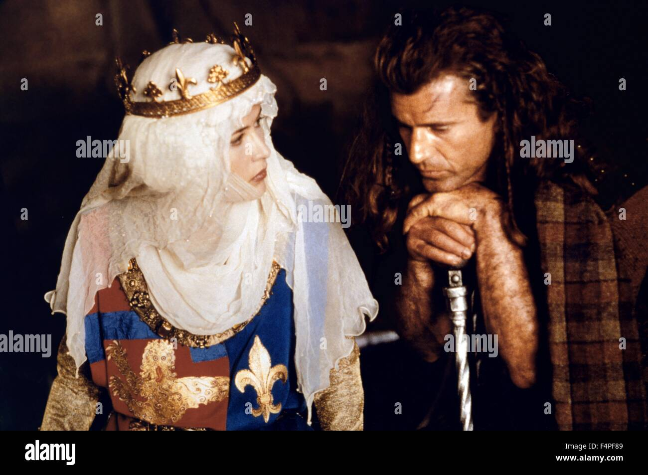 Sophie Marceau and Mel Gibson / Braveheart / 1995 directed by Mel Gibson - Stock Image