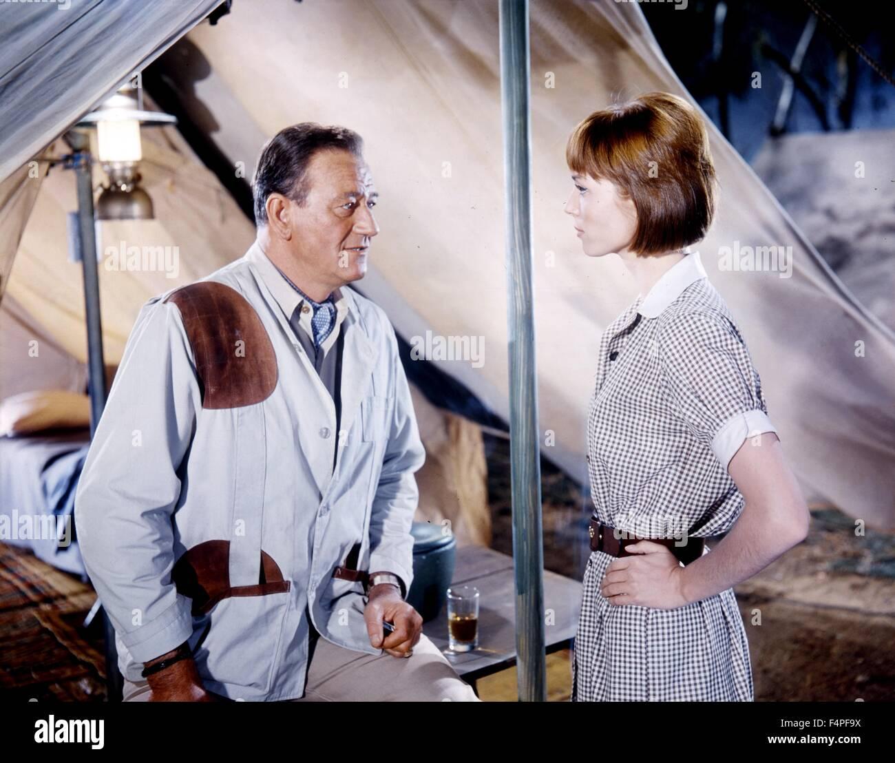 John Wayne and Elsa Martinelli / Hatari !/ 1962 directed by Howard Hawks - Stock Image