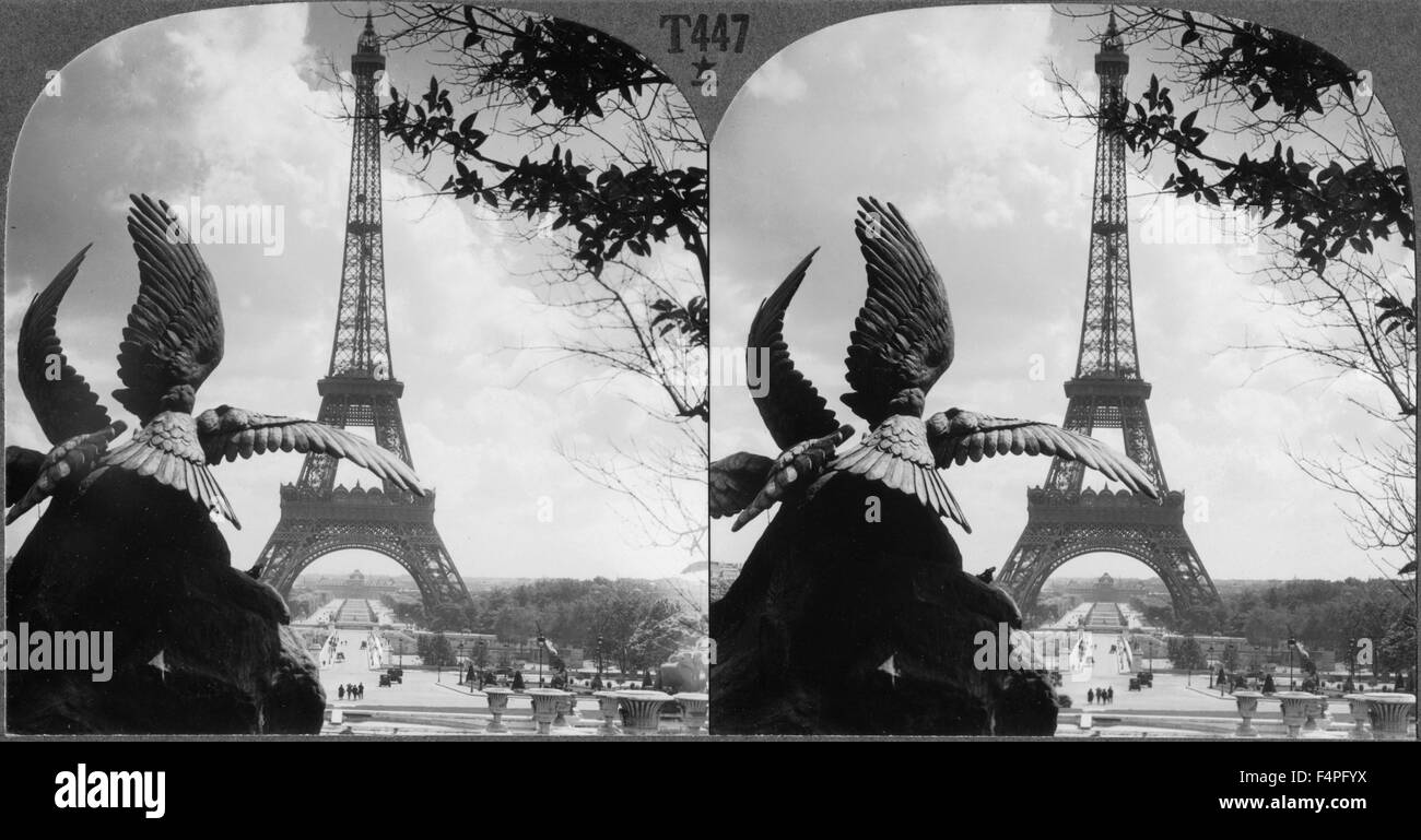 Eiffel Tower and Champs de Mars from the Trocadero Palace, Paris, France, Keystone View Company, Stereo Card circa - Stock Image