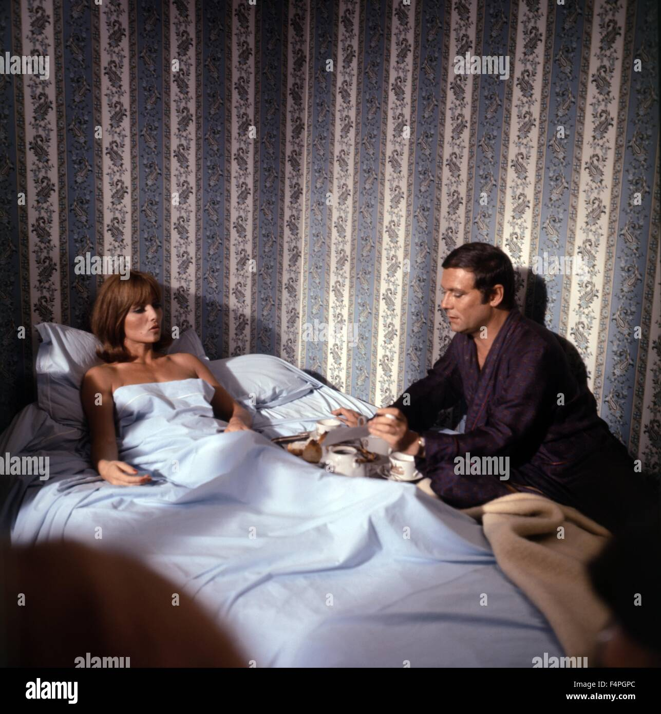 Stephane Audran and Maurice Ronet / The Unfaithful Wife / 1969 directed by Claude Chabrol - Stock Image