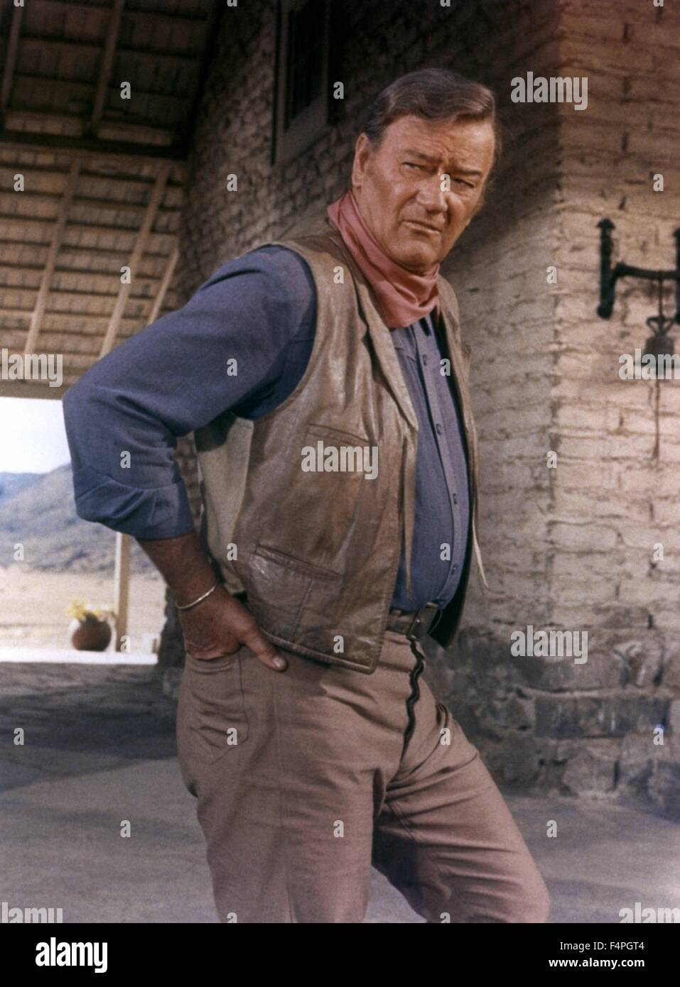 John Wayne / The Train Robbers / 1973 directed by Burt Kennedy - Stock Image