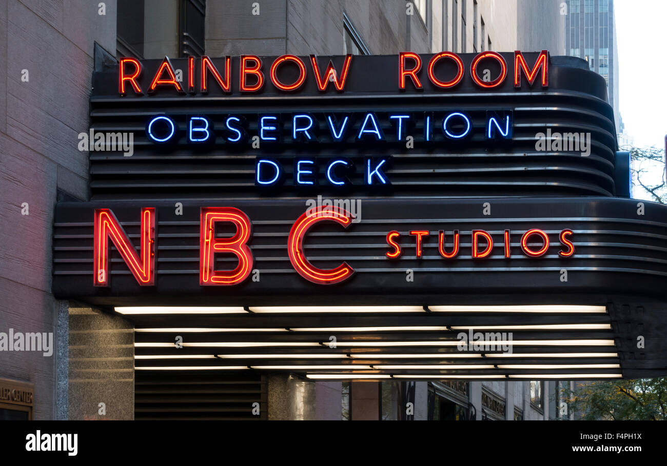 Entrance to the NBC Studios and the Rainbow Room and Observation Deck - Stock Image