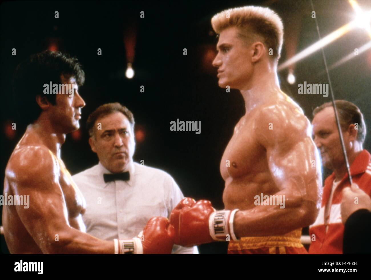 Sylvester Stallone and dolph Lundgren / Rocky IV / 1985 directed by Sylvester Stallone - Stock Image