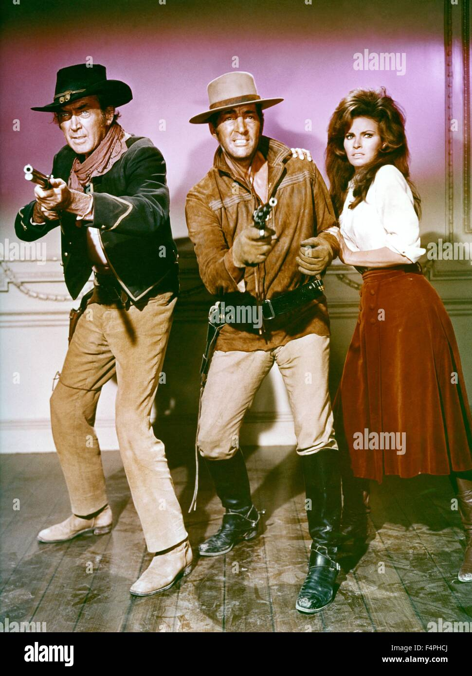 James Stewart, Dean Martin and Raquel Welch / Bandolero ! / 1968 directed by Andrew V. McLaglen [20th Century Fox] - Stock Image