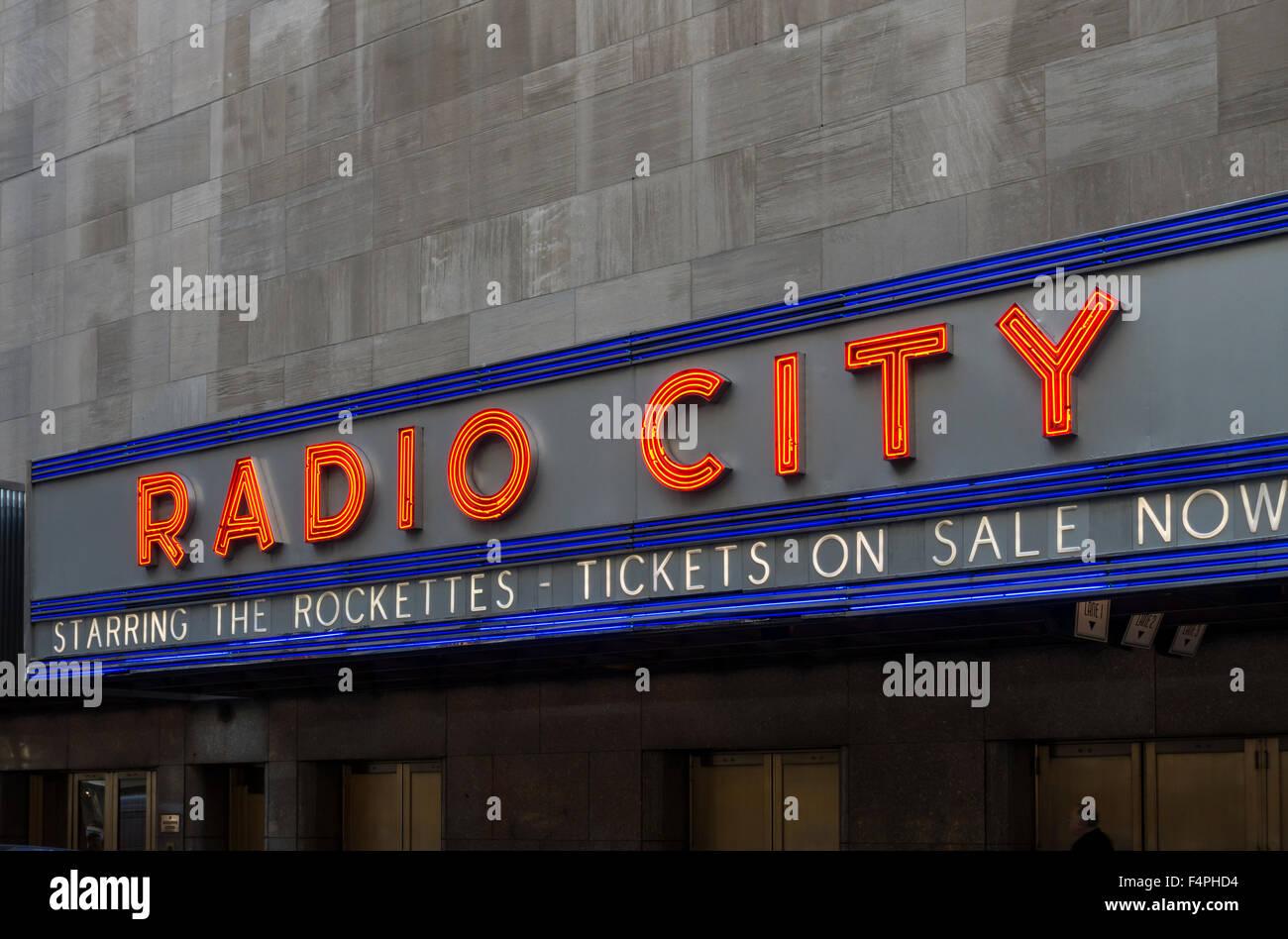 Radio City music hall in Midtown Manhattan, New York City - Stock Image