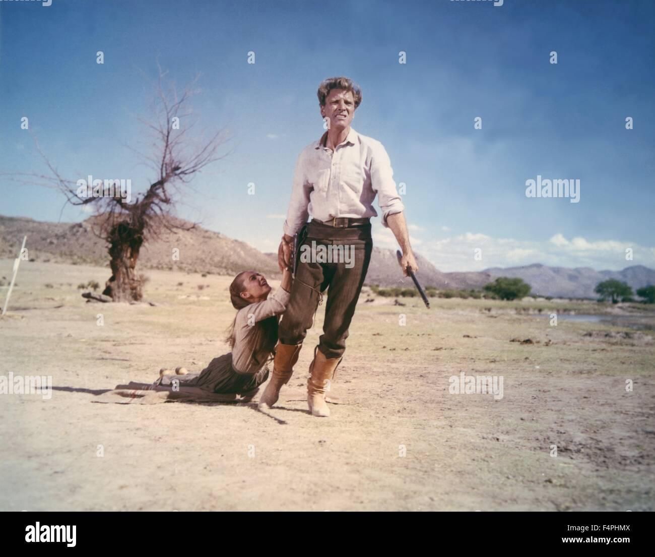Burt Lancaster and Audrey Hepburn / The unforgiven / 1960 directed by John Huston [United Artists] - Stock Image