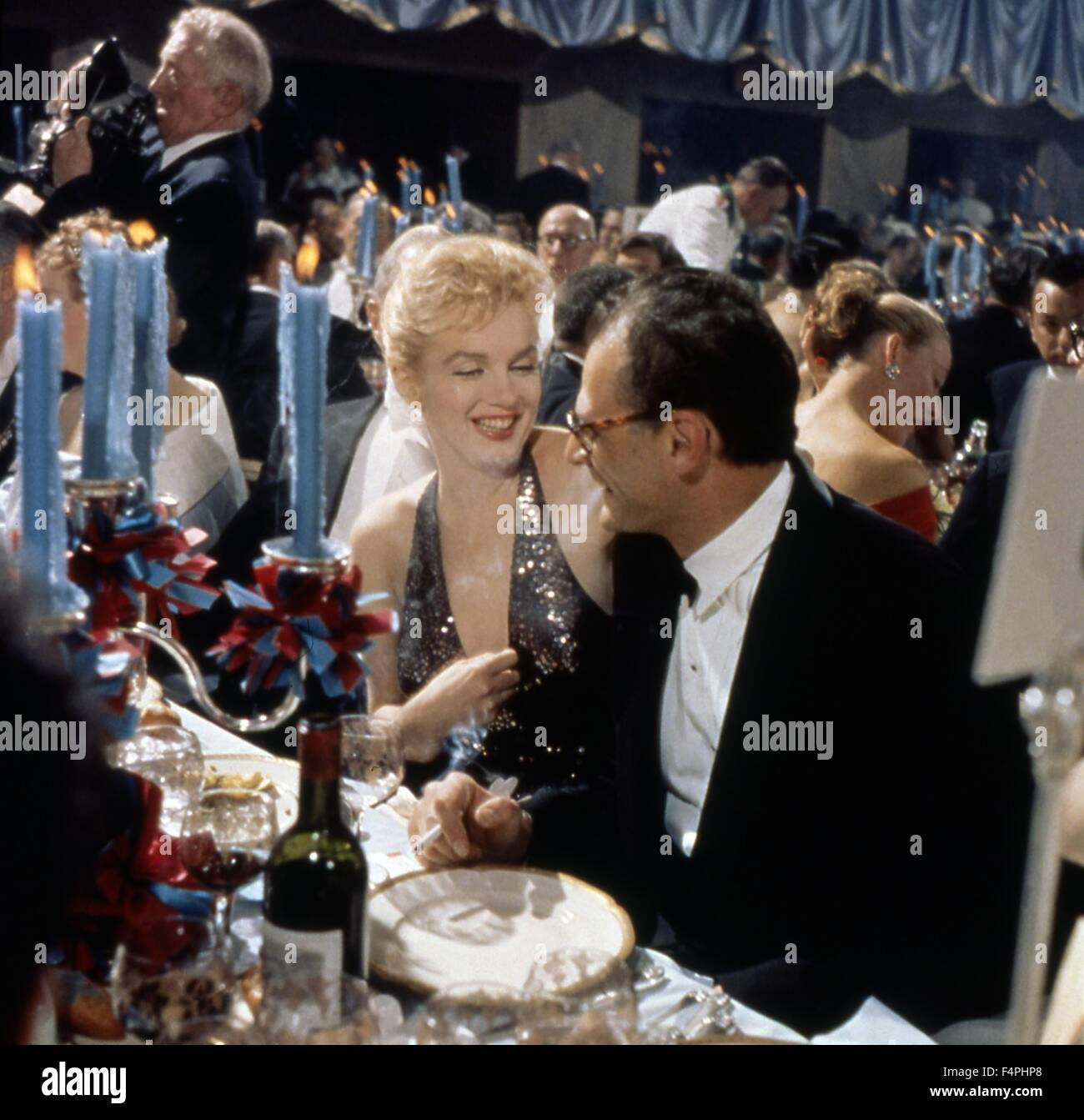 Marilyn Monroe with Arthur Miller at Waldorf Astoria, New-York, 11/04/1957 - Stock Image