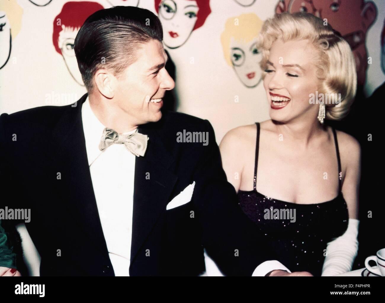 Ronald Reagan and Marilyn Monroe/ 1953 Hollywood, California, USA - Stock Image