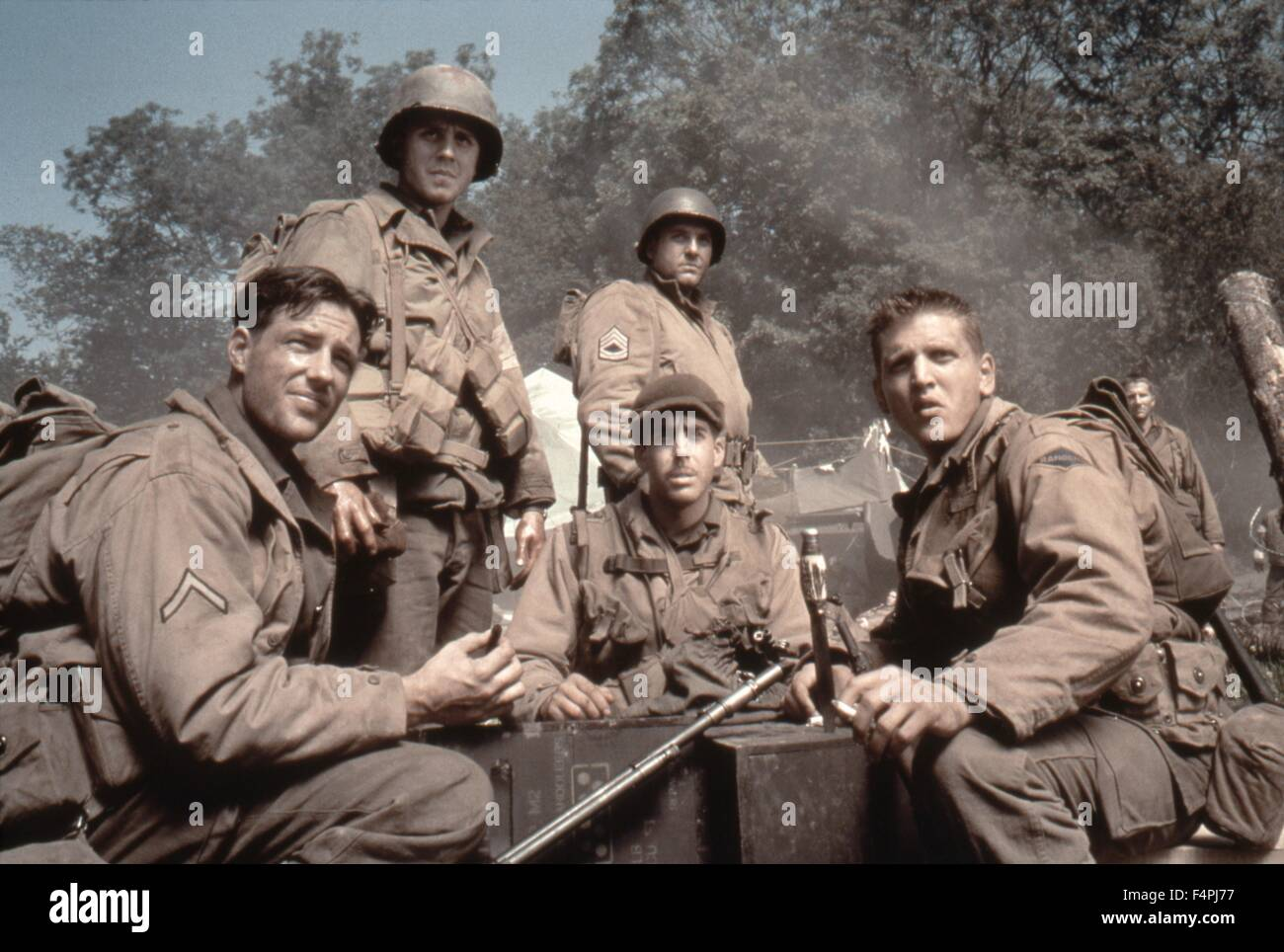 Edward Burns, Giovanni Ribisi, Tom Sizemore, Adam Golberg and Barry Pepper / Saving Private Ryan / 1998 directed - Stock Image