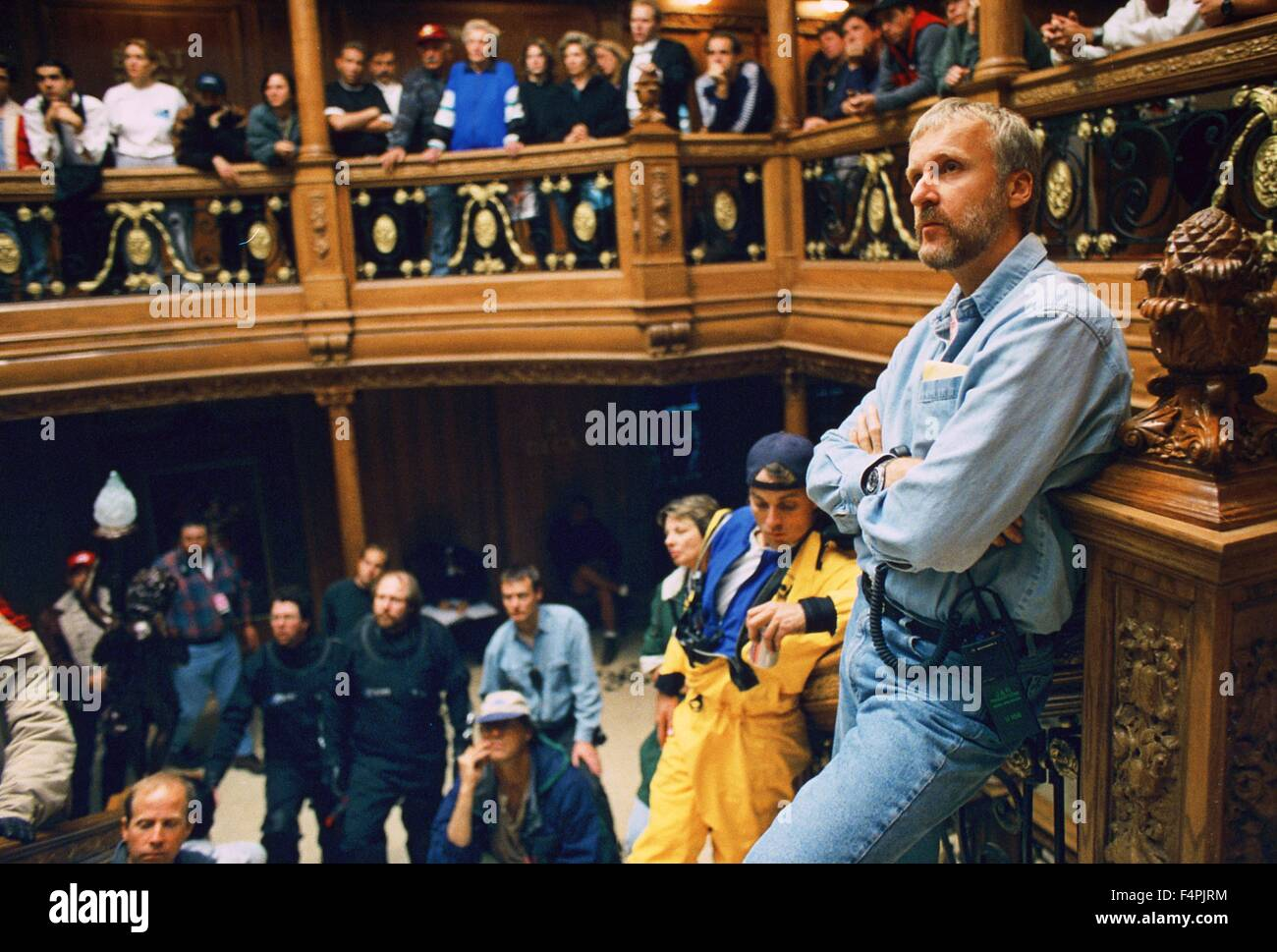 On the set, James Cameron / Titanic / 1997 directed by James Cameron [Twentieth Century Fox Pictures] - Stock Image