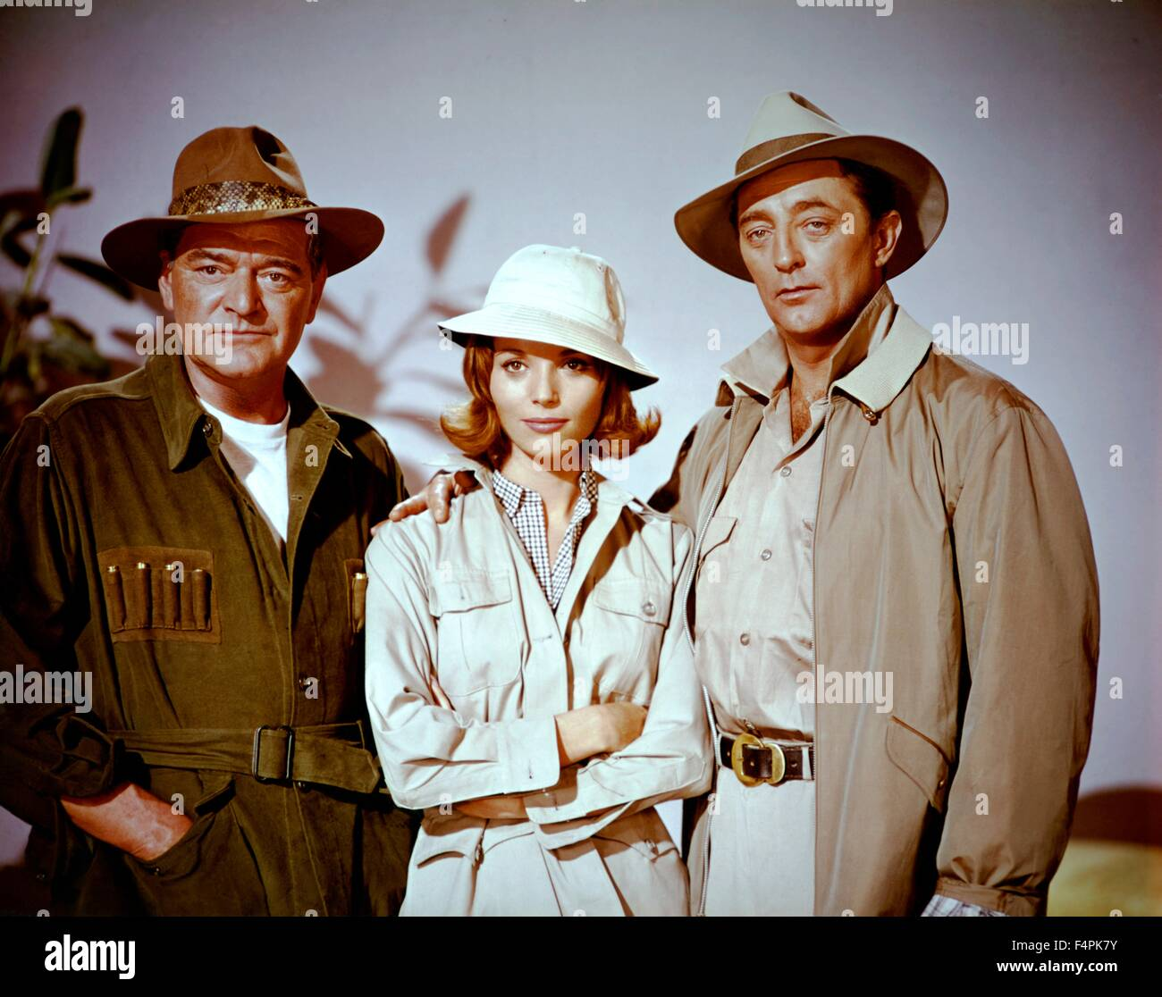 Jack Hawkins, Elsa Martinelli and Robert Mitchum / Rampage / 1963 directed by Phil Karlson [Seven Arts Productions - Stock Image