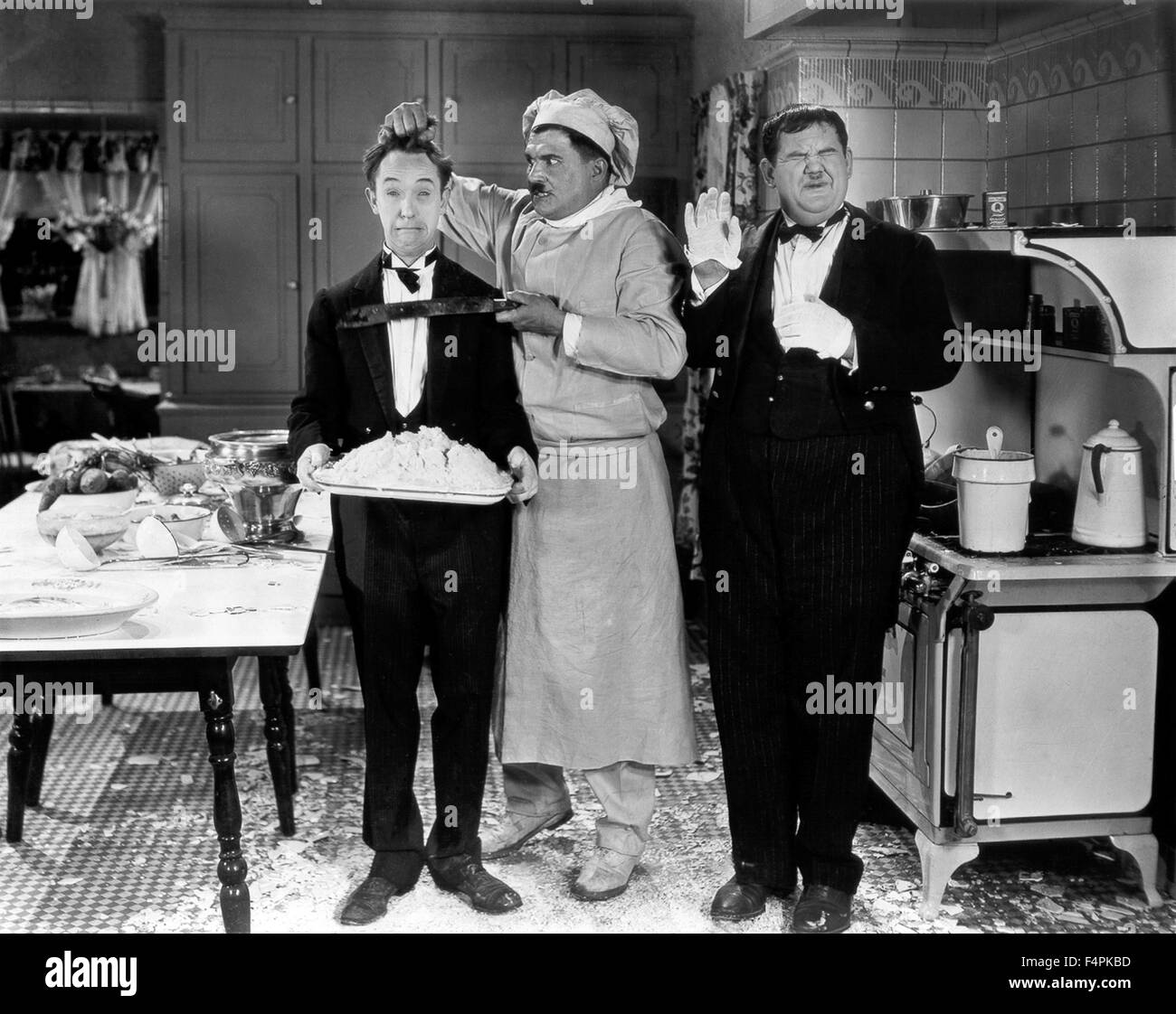 Stan Laurel and Oliver Hardy / From Soup to Nuts / 1928 directed by Edgar Kennedy  [Metro-Goldwyn-Mayer Pictures] - Stock Image