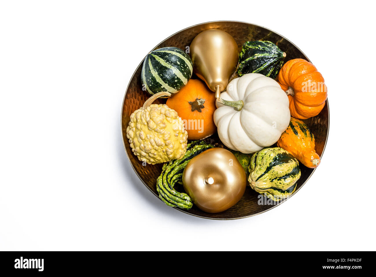 Thanksgiving Fall Cut Out Pumpkins & Gords in Gold Bowl with Gold Apple & Pear on White Background - Stock Image