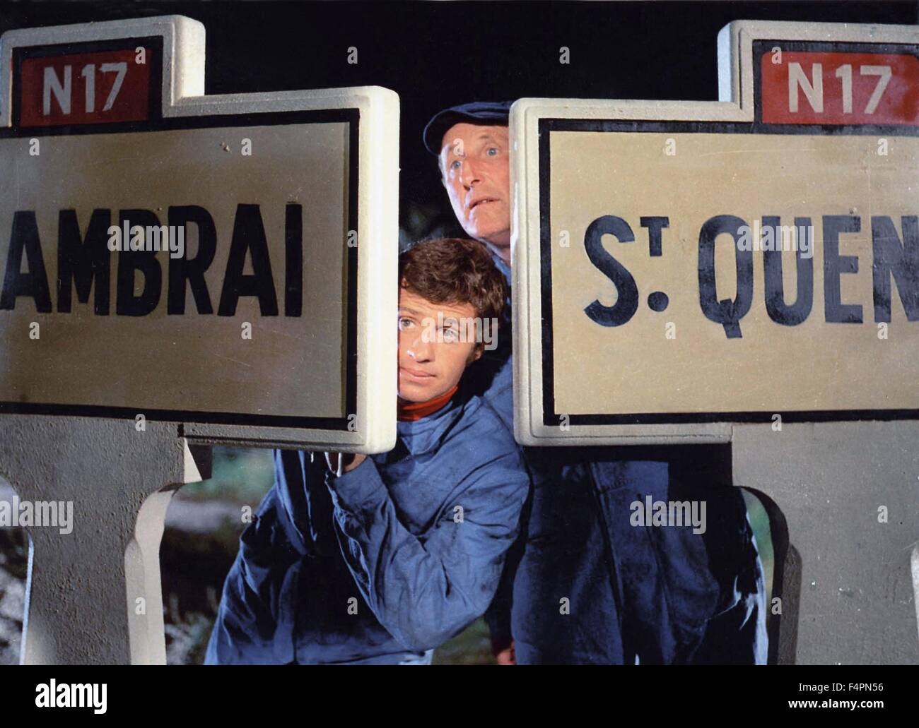 Jean-Paul Belmondo and Andre Bourvil / The Brain / 1969 directed by Gerard Oury - Stock Image
