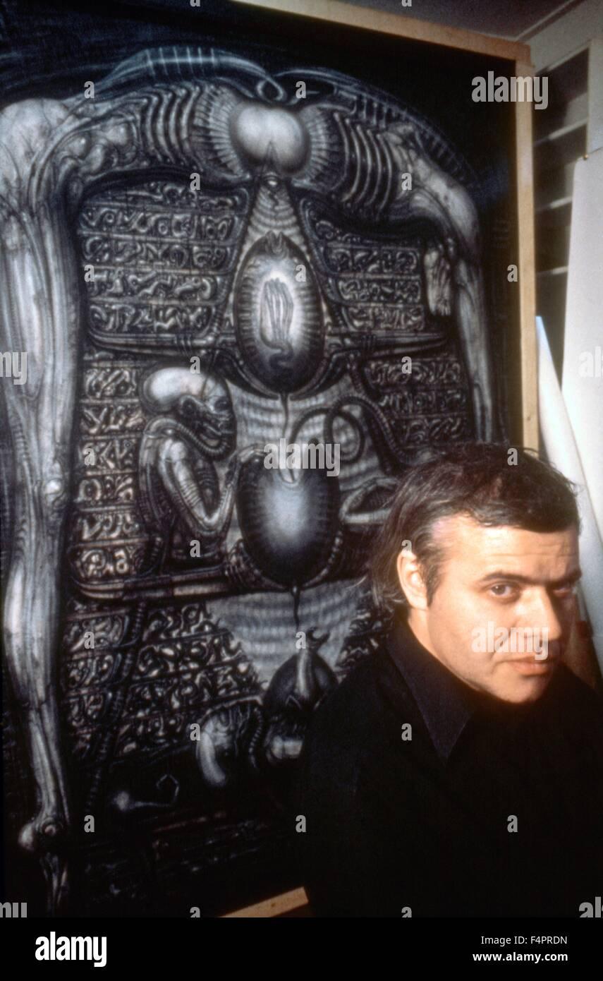 On the set, Hans Ruedi Giger, creator of the 'Alien' / Alien / 1979 directed by Ridley Scott  [Twentieth - Stock Image