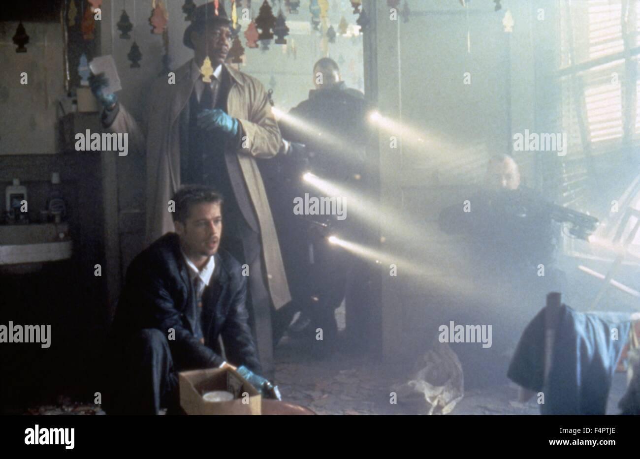 Brad Pitt and Morgan Freeman / Seven / 1995 directed by David Fincher [New Line cinema] - Stock Image