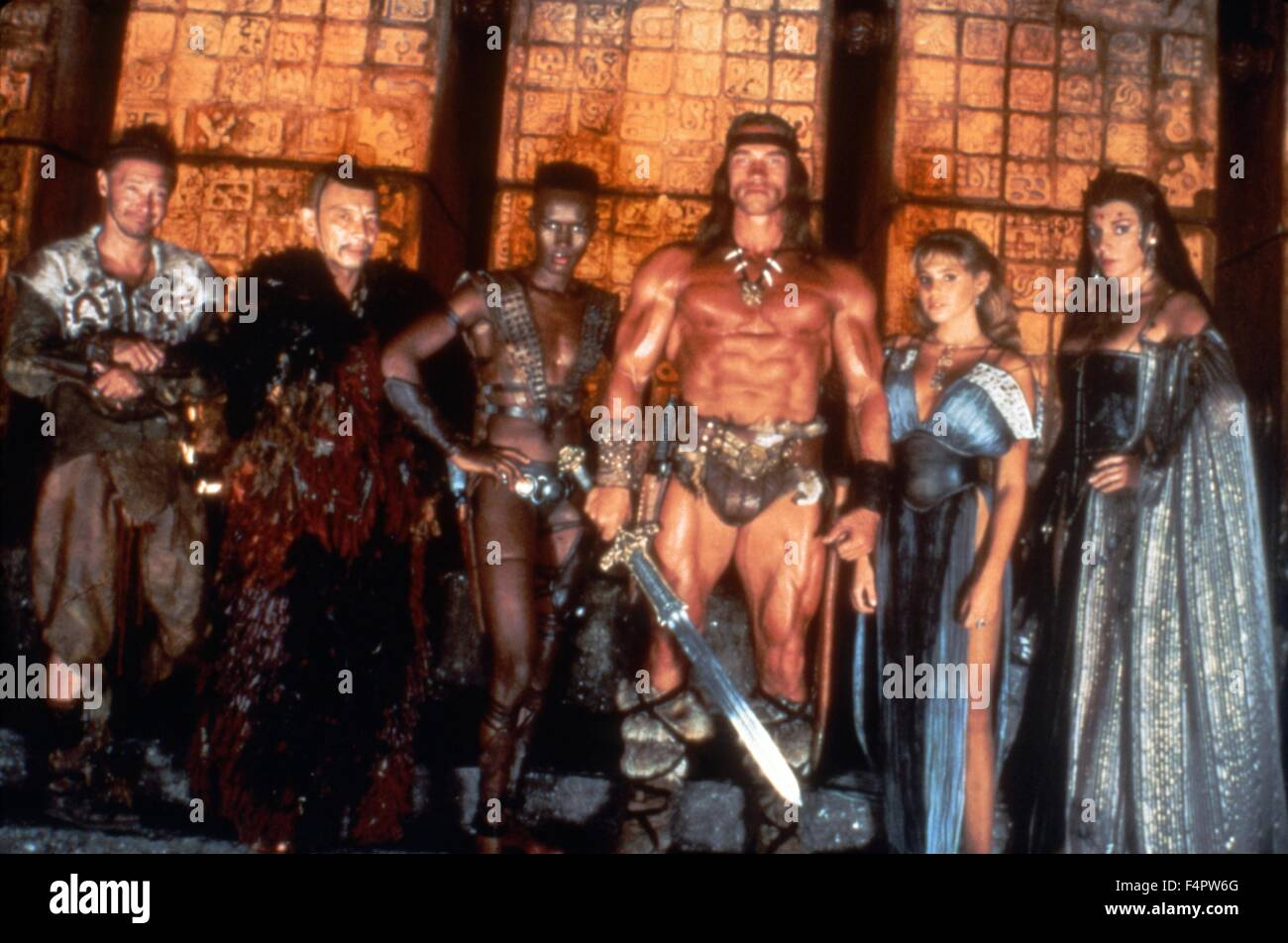 Tracey Walter, Mako, Grace Jones, Arnold Schwarzenegger, Olivia D'abo and Sarah Douglas / Conan the Destroyer - Stock Image