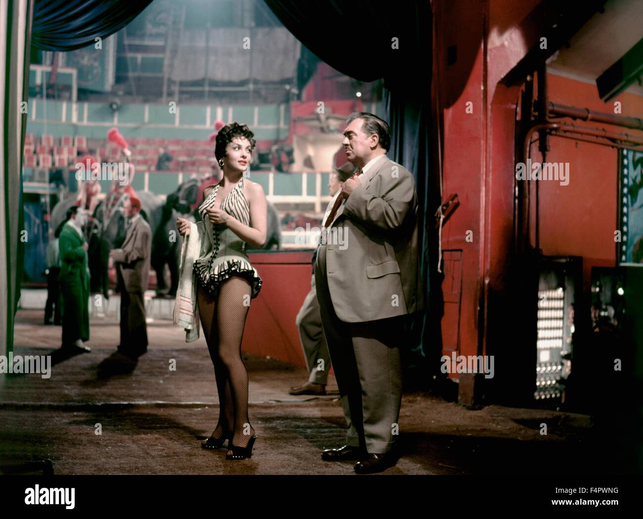 Gina Lollobrigida and Thomas Gomez / Trapeze / 1956 directed by Carol Reed [United Artists] - Stock Image