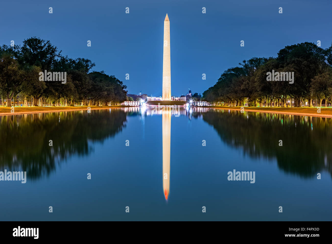 Washington monument, mirrored in the reflecting pool - Stock Image