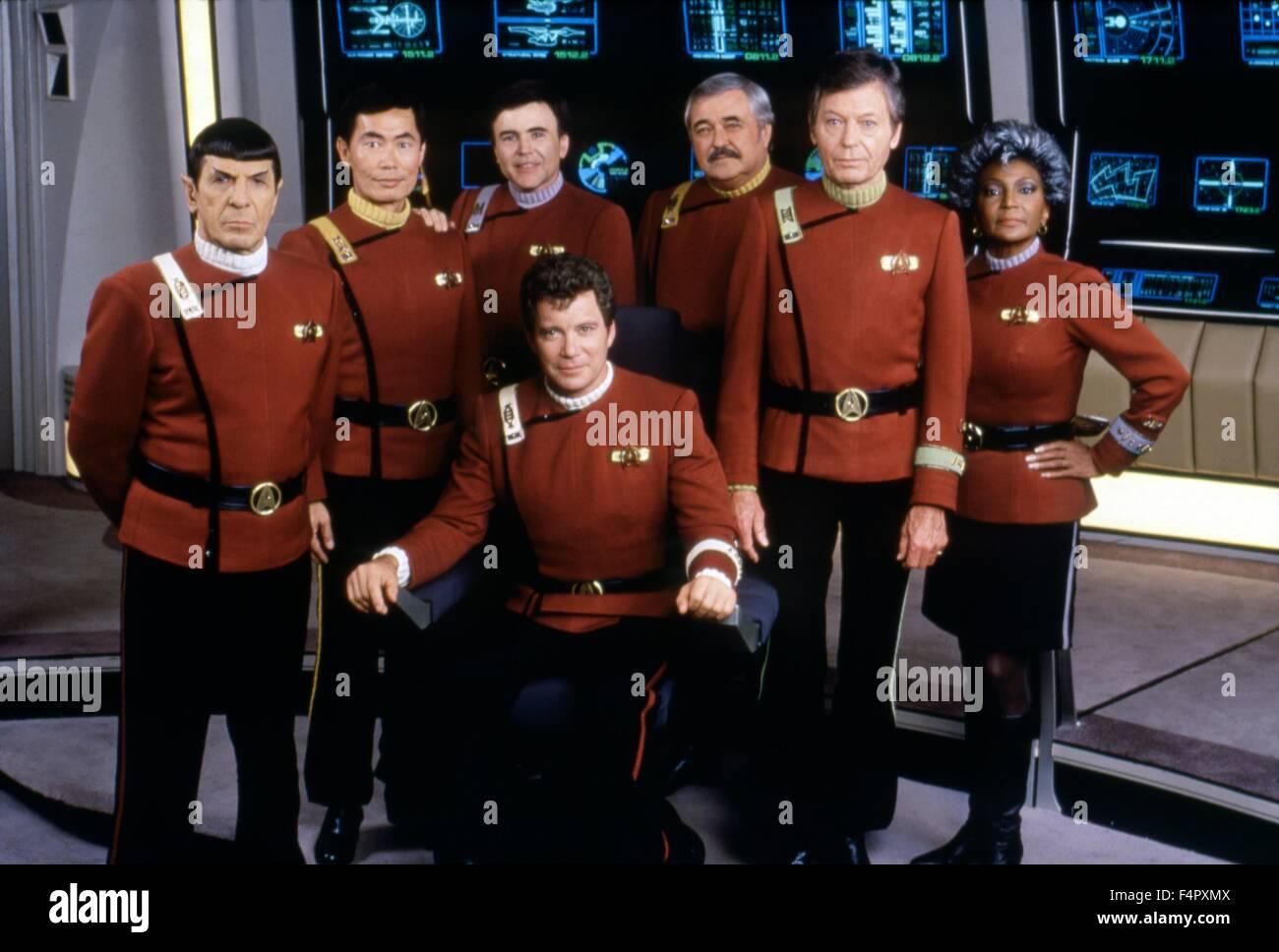 Leonard Nimoy, George Takei, Walter Koenig, William Shatner, DeForest Kelley and Michelle Nichols / Star Trek V - Stock Image