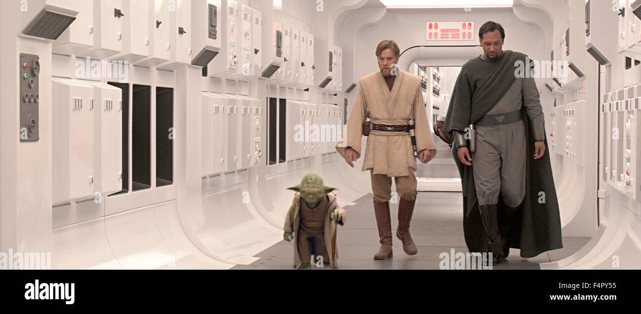 Ewan McGregor (Obi-Wan Kenobi), Jimmy Smits (Bail Organa) and Yoda / Star Wars-Episode III Revenge of the Sith / - Stock Image
