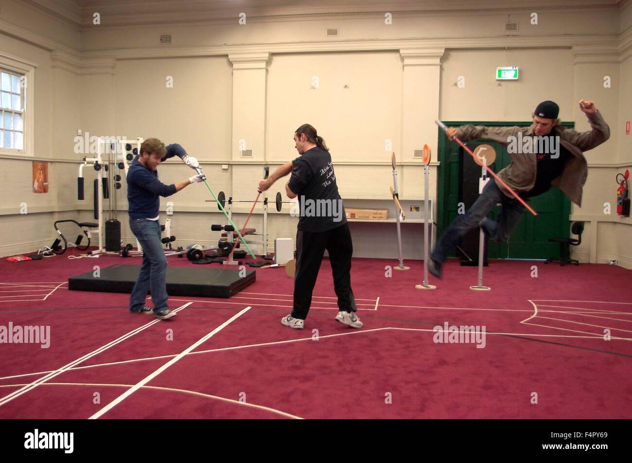 Ewan McGregor, Hayden Christensen and stuntman Kyle Rowling practicing lightsaber / Star Wars-Episode III Revenge - Stock Image