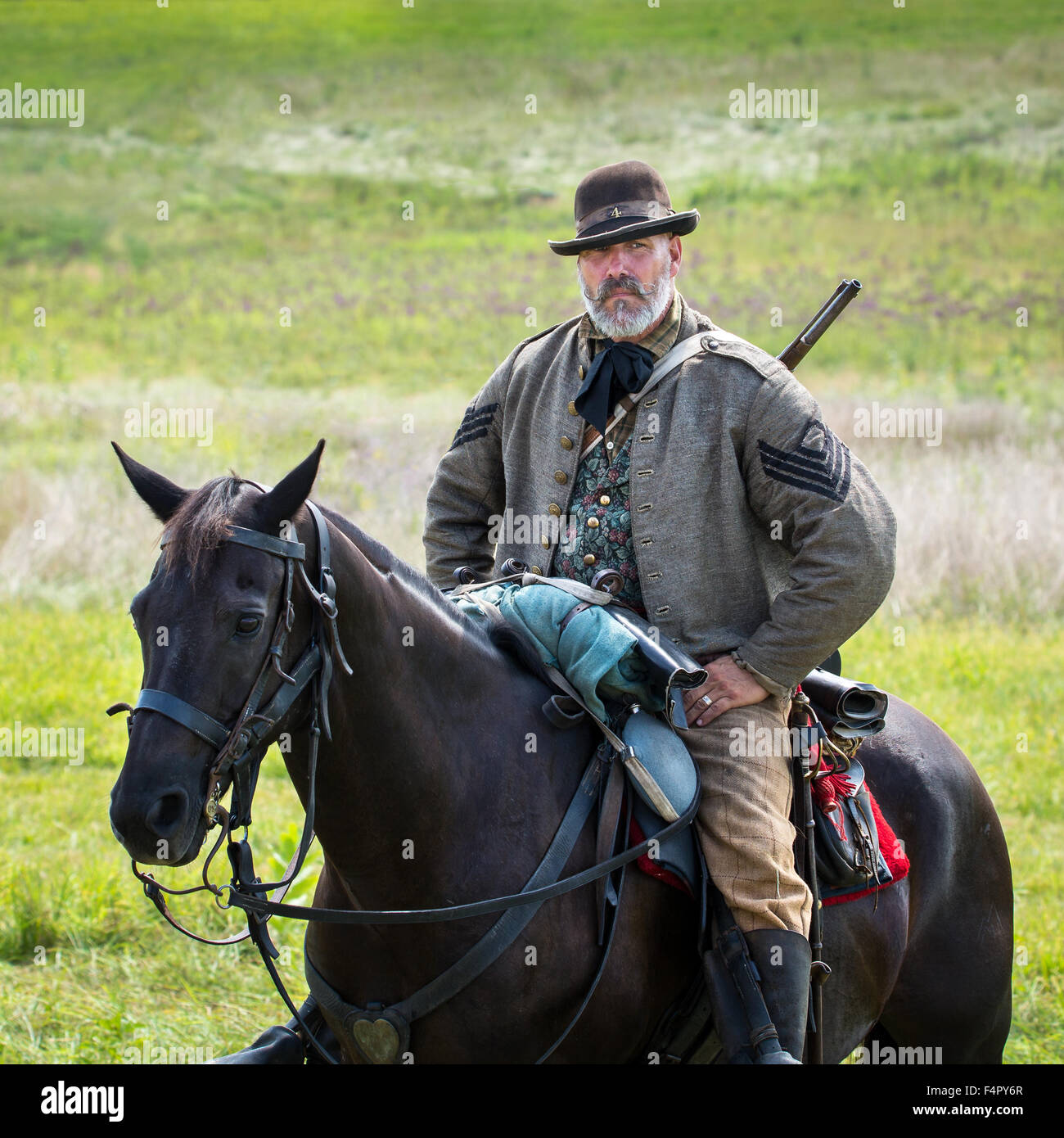 Mounted cavalry confederate soldier reenacts the Battle of Gettysburg - Stock Image