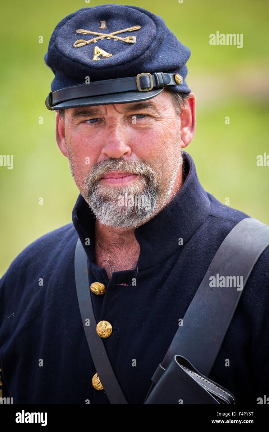 Union soldier reenacts the Battle of Gettysburg. - Stock Image