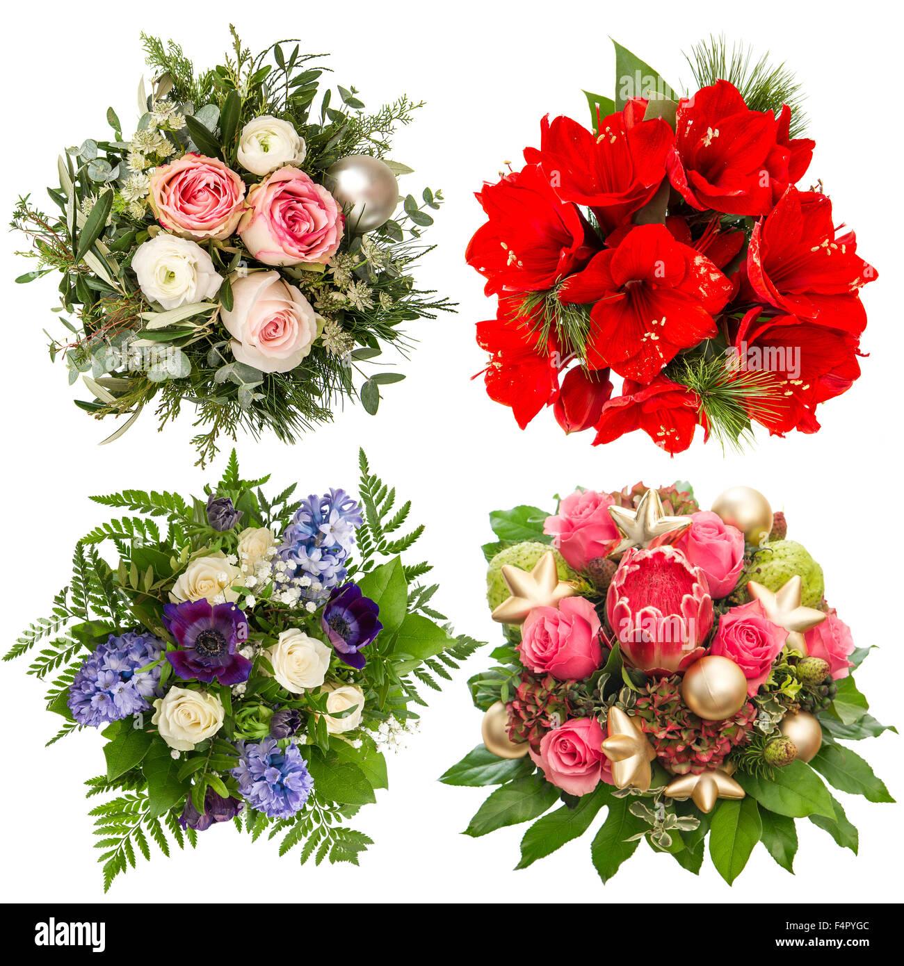 Flowers Bouquet For Christmas And New Year Holidays Roses Stock