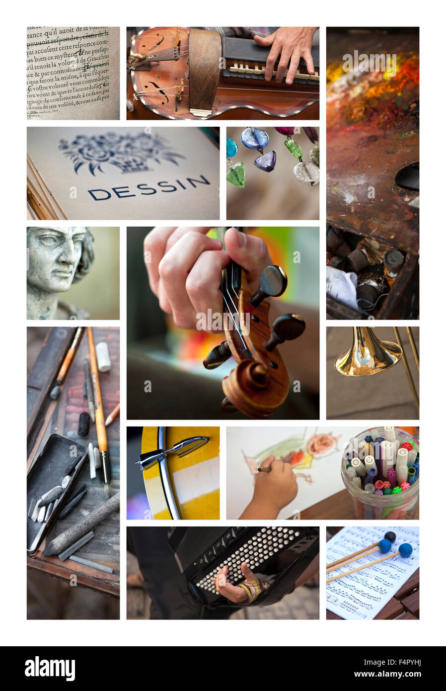 Artistic leisures and objects on a collage - Stock Image