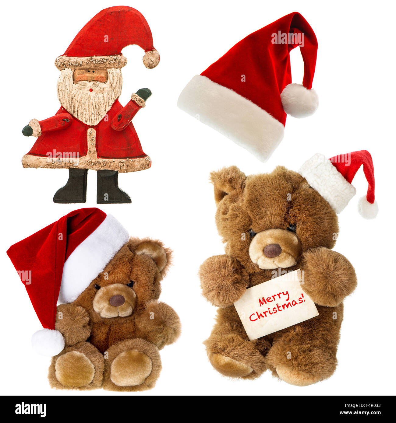 32230d5dc3774 Cute vintage Teddy bear with Santa hat. Set of christmas decorations. Merry  Christmas!