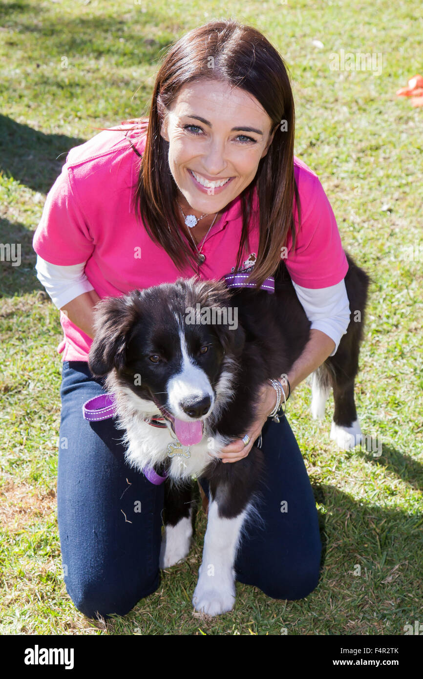 Celebrity Vet Dr Katrina Warren with Ollie at the Border Collie Fun Day, Sydney, Australia. - Stock Image