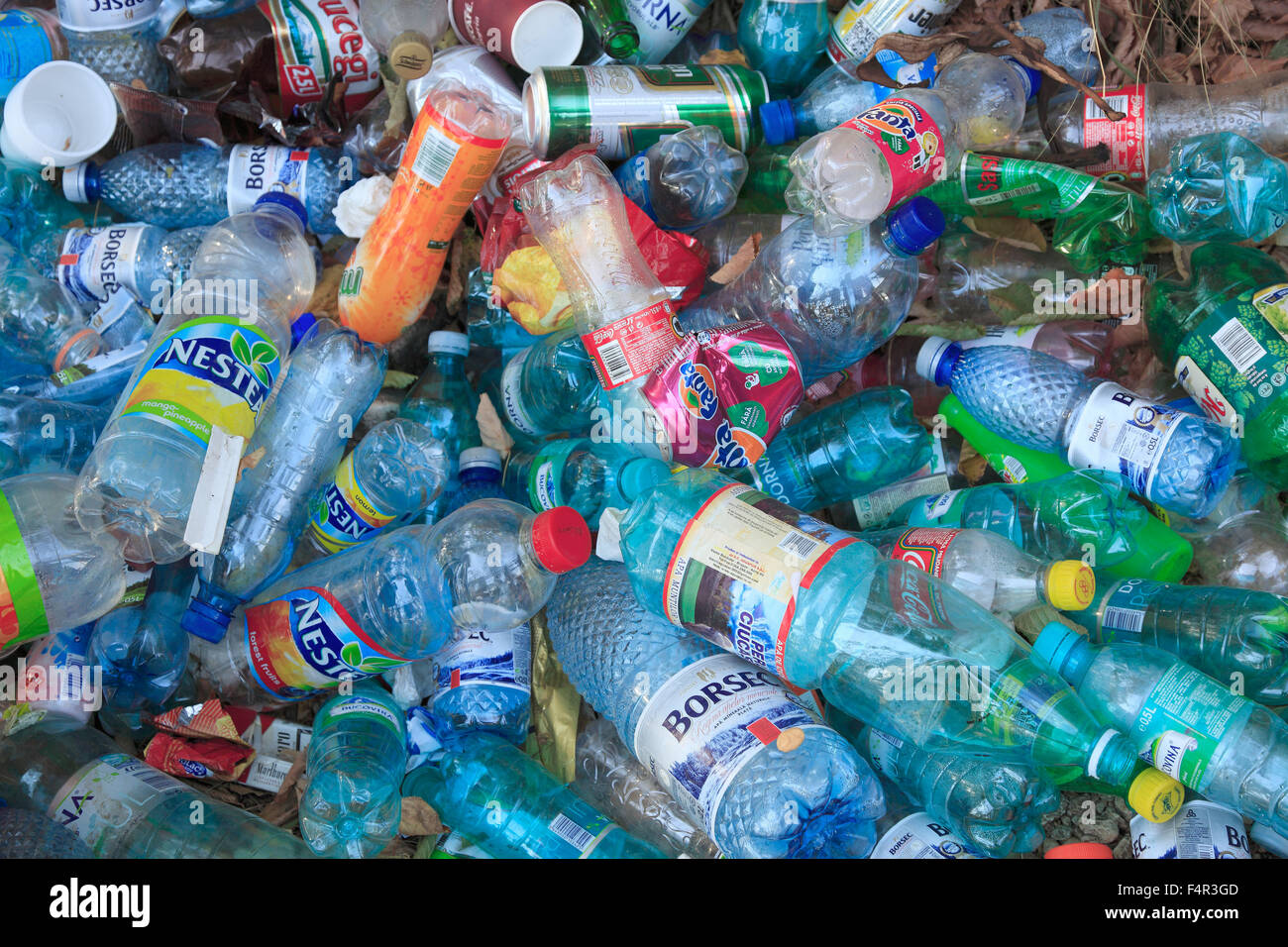 Plastic bottles, pollution, illegal waste disposal, - Stock Image
