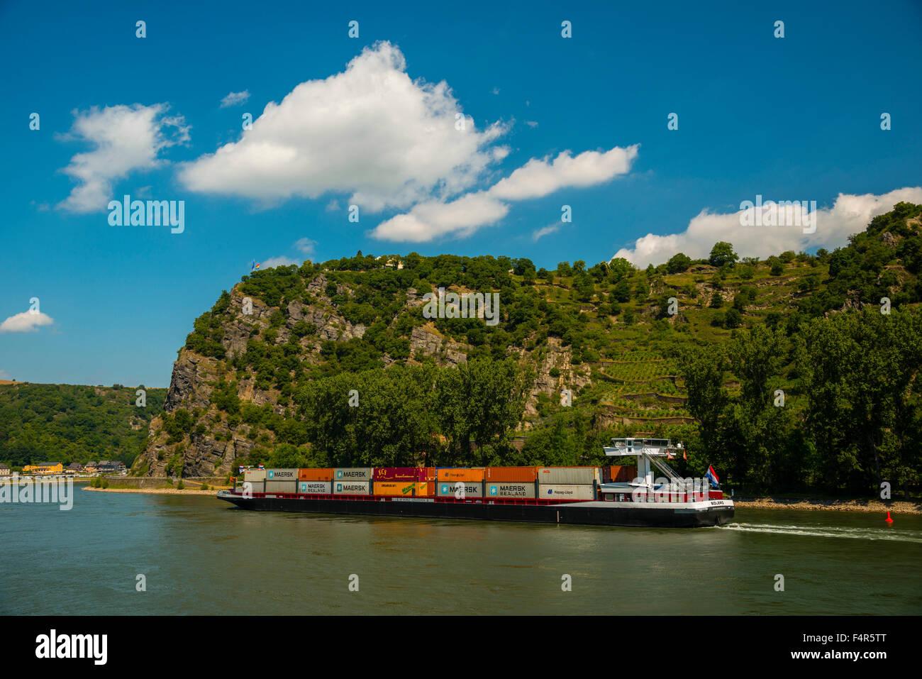 Container ship, Germany, Europe, Goarshausen, Loreley, rock, middle Rhine Valley, Rhineland Palatinate, Rhine, Saint Stock Photo