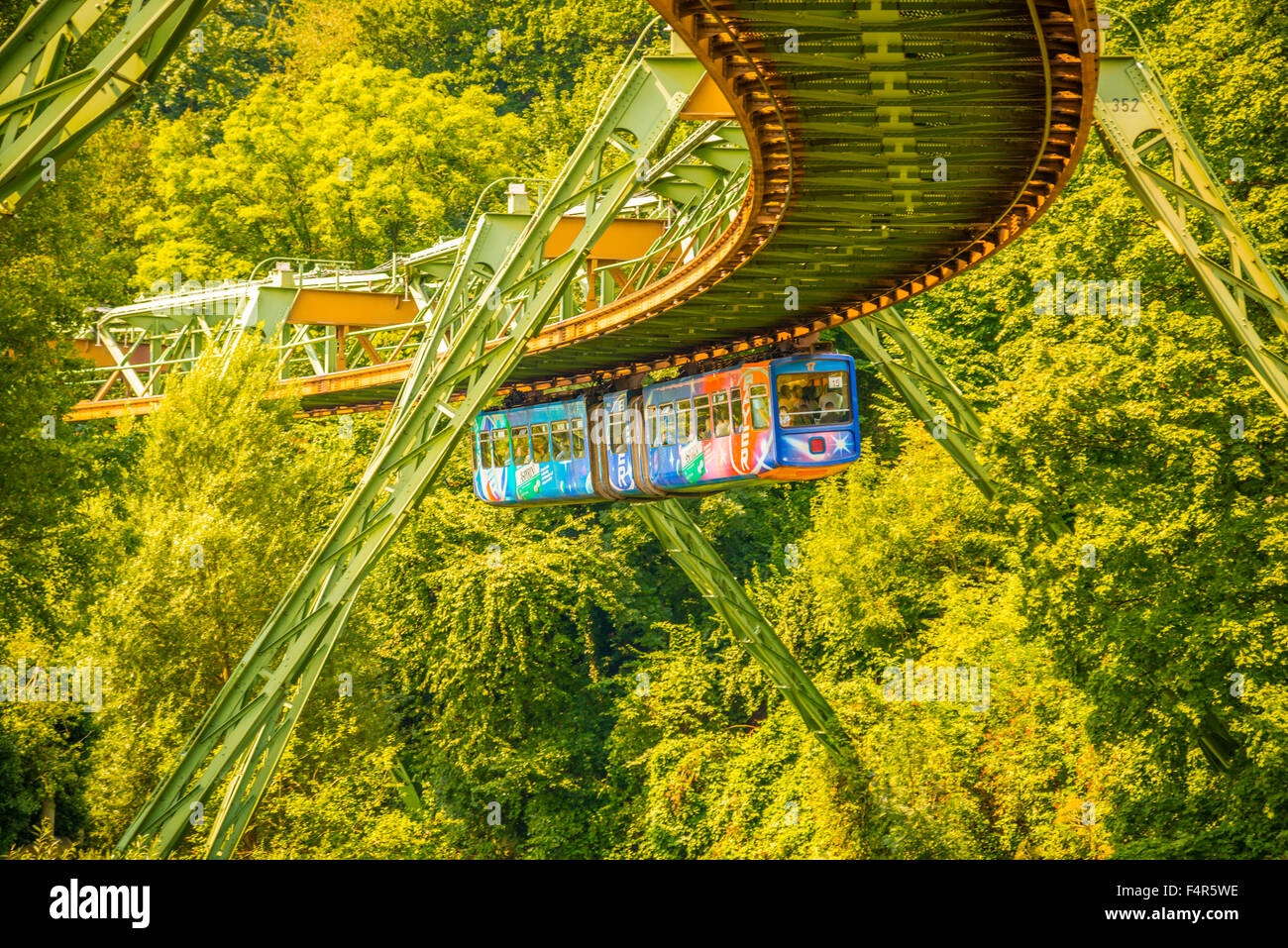 Bergisches land, Germany, Europe, elevated, railway, Nordrhein Westphalia, suspension  railroad, transport, traffic, Stock Photo
