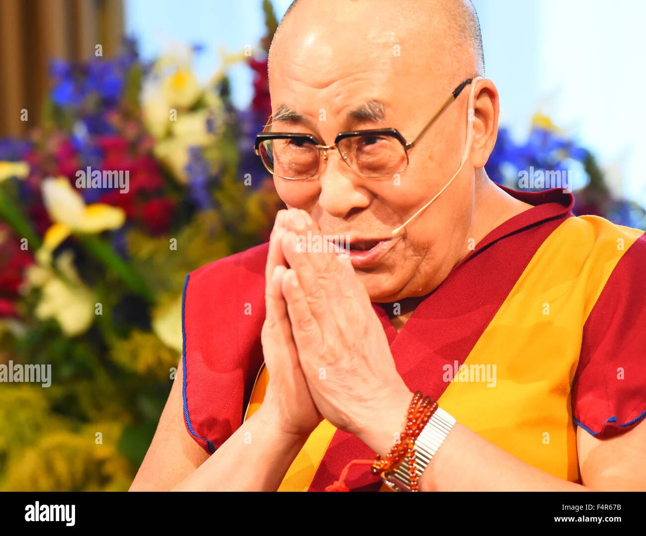 Dalai Lama, Buddhism, religion, Tibet, Basel in 2015, - Stock Image