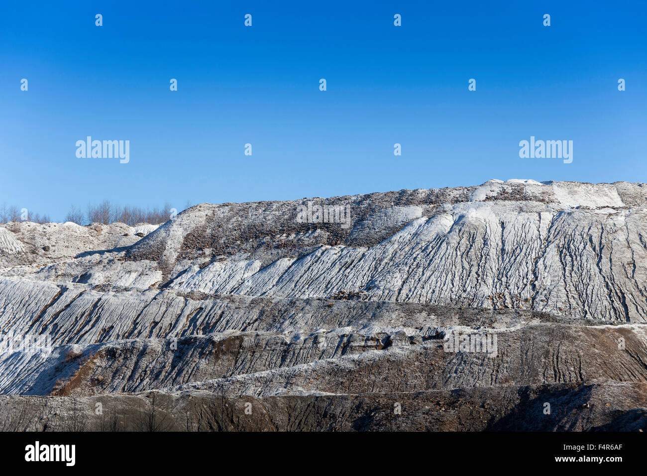 Dismantling, outside, mining, Gabbro, rock, production, extraction, industry, lime, lime rock, limestone, deserted, - Stock Image