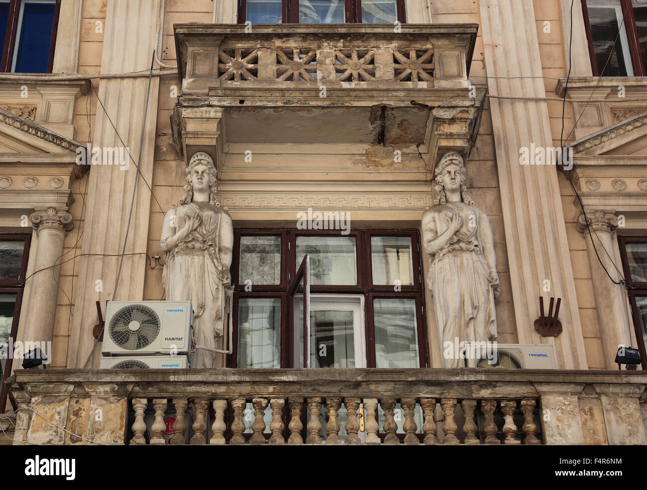 Old Town, detail of an old merchant's house, balcony, Bucharest, Romania - Stock Image