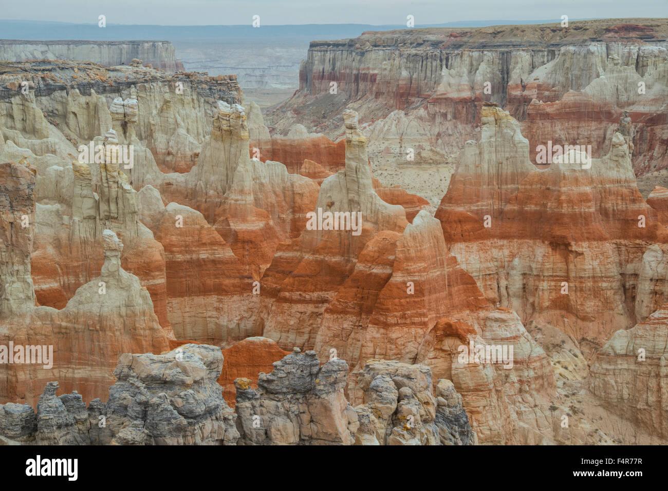 USA, United States, America, Arizona, Coal Mine Canyon, Navajo Indian Reservation, hoodoo, erosion, landscape, badlands, Stock Photo